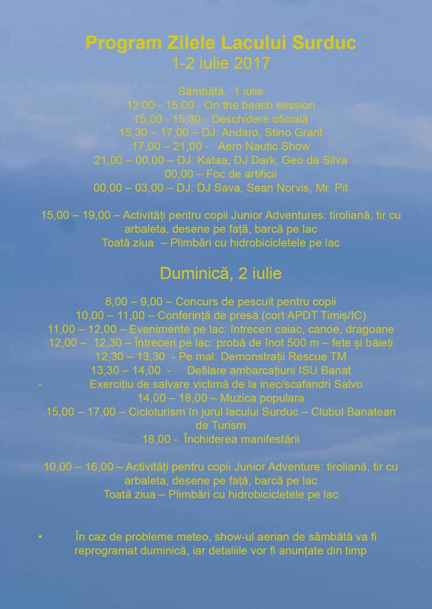 Program evenimente Zilele Lacukui Surduc 2017